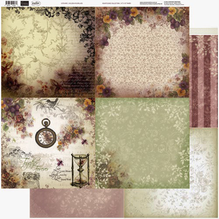 Couture Creations - 12 x 12 Paper (5 sheets) - Golden Hourglass