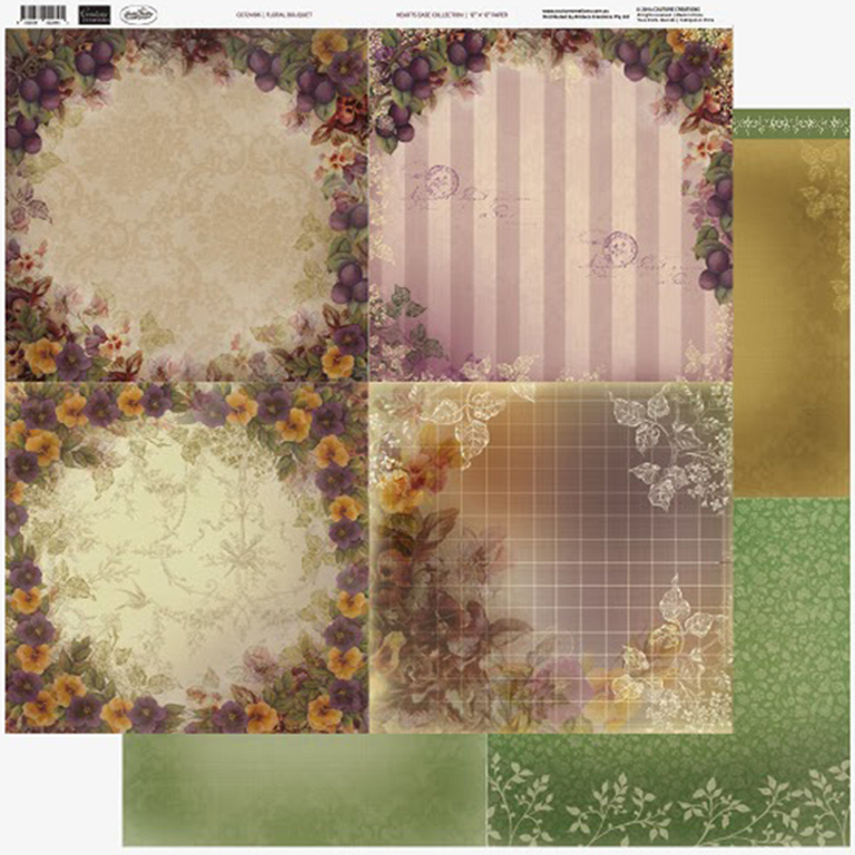Couture Creations - 12 x 12 Paper (5 sheets) - Floral bouquet