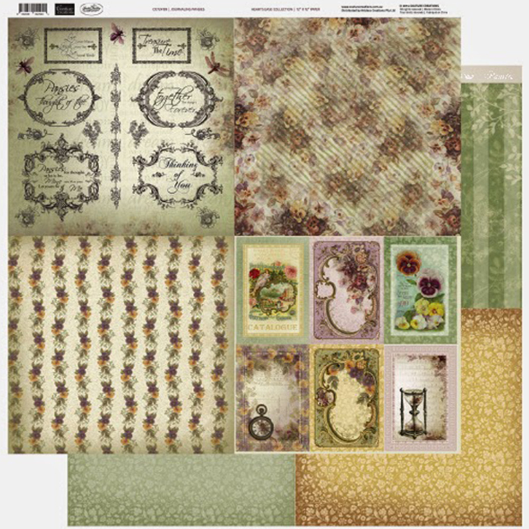 Couture Creations - 12 x 12 Paper (5 sheets) - Journaling Pansies