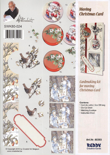 3D Precut Moving Christmas Card - Birds, Floral/Manger Scene