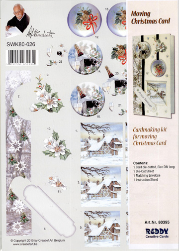 3D Precut Moving Christmas Card - Winter Country Scene/Floral