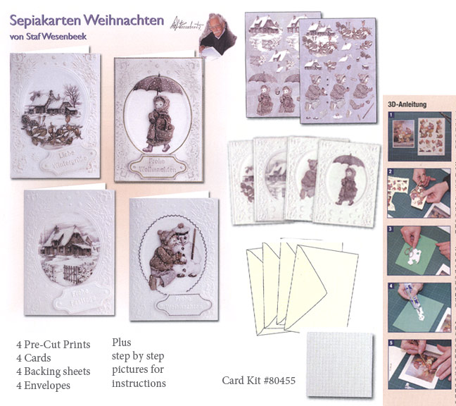 3D Card Kit - (4)Traditional Christmas cards