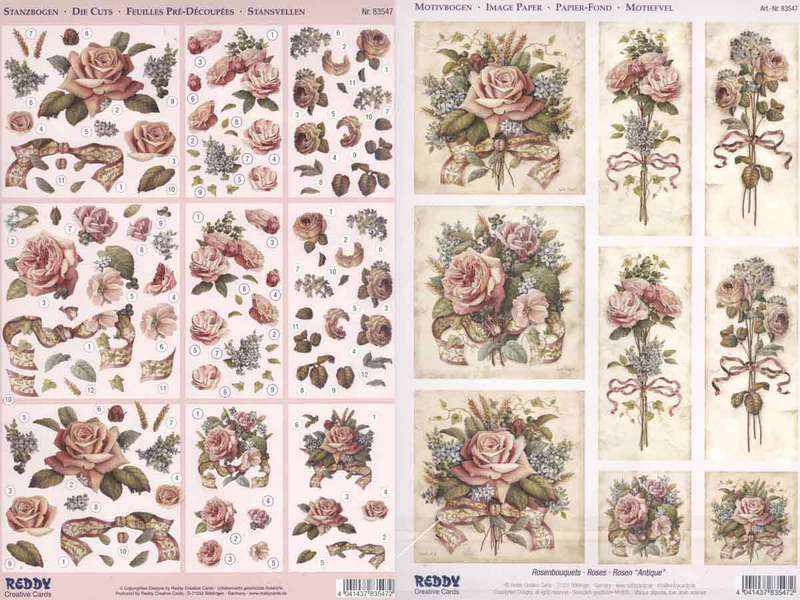 3D Precut - (2 Sheets)& Image page Antique Roses