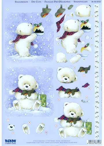 3D Precut Christmas - White Bear