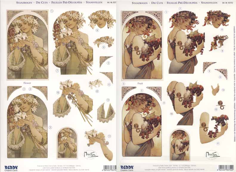 3D Precut Alphonso Mucha Flowers & Fruits 2 sheets