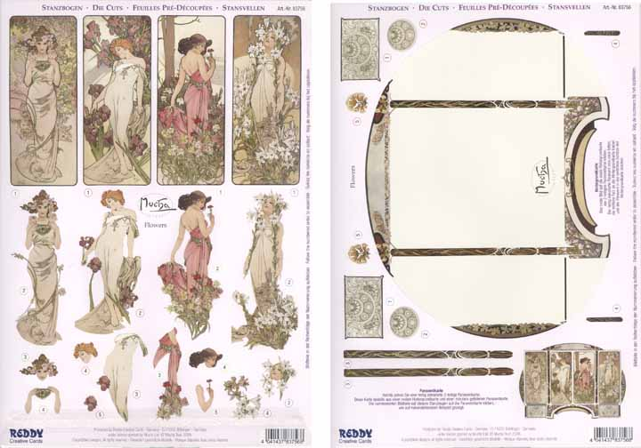 3D Precut Alphonso Mucha Flowers & Backing Sheet