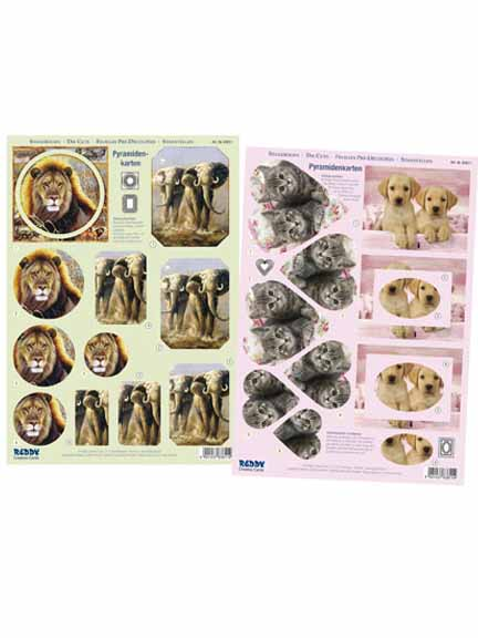 3D Precut - 2 sheets Animals elephant/puppies