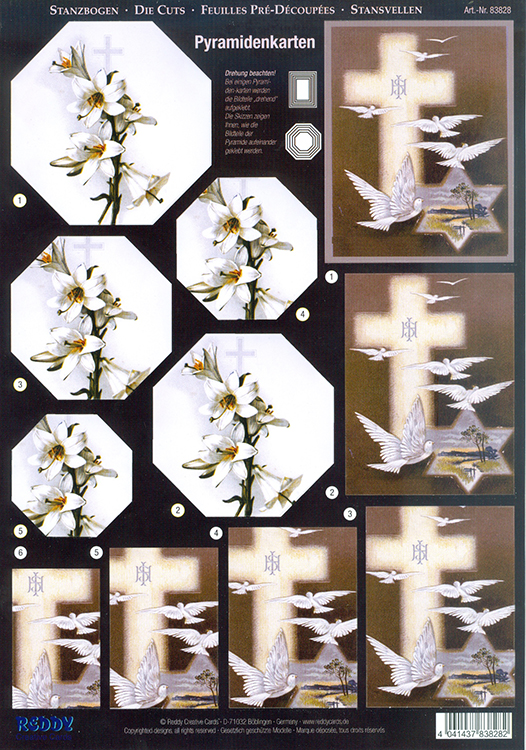 Pyramid Precut sheets - Rose/Doves/Cross,