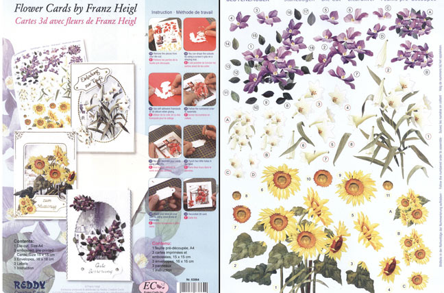 Card Kit- 3D Floral - Franz Heigl 4: 3 cards, envelopes and precut sheet