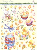 3D Precut - (2 sheets)Easter Eggs with Chicks, Ducks and Rabbits