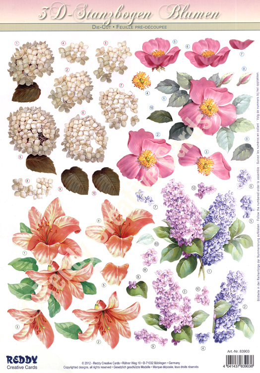 Reddy Creative Cards 3d Precut - Flowers - 2 Sheets