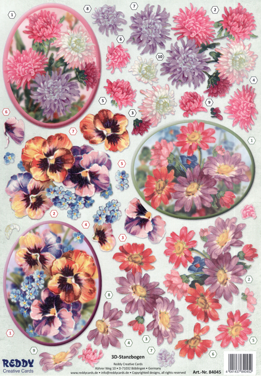 Reddy Die Cut 3D - Chrysanthemum, Violets