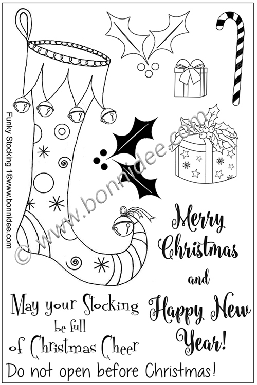 Ecstasy Crafts Bonnidee Stamps - Funky Stocking