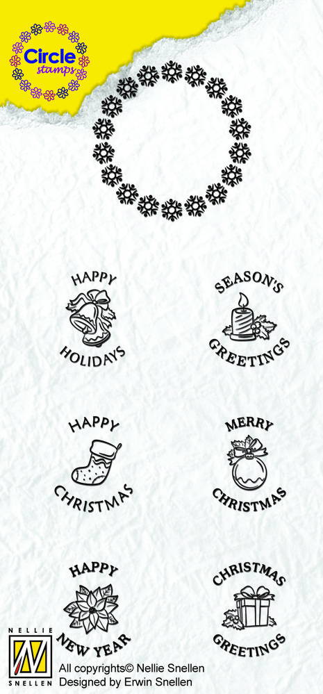 Circle Clear Stamp English Text - Christmas