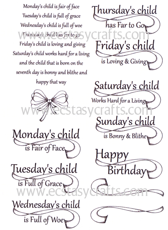 Creative Expressions Monday's Child Stamp Set