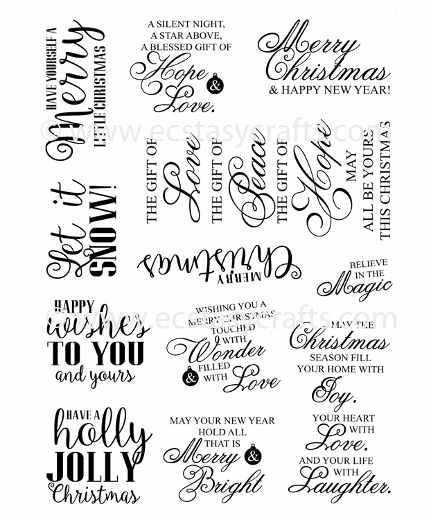 Creative Expressions Holly Jolly Sentiments A5 Clear Stamp Set