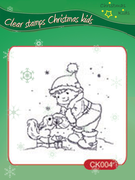 Clear Stamps - Christmas Kids - Helping Santa