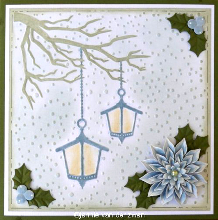 Ecstasy Crafts Embossing Folder - Snowy Scene With Lanterns