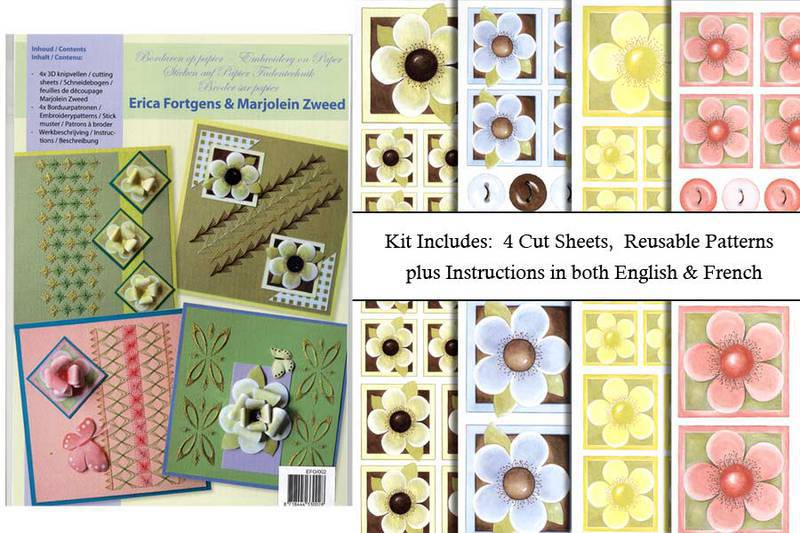 Ecstasy Crafts Embroidery & 3D Paper Kit-Flowers 2