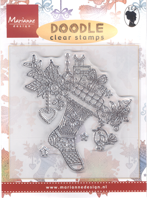 Marianne Design Clear Stamp: Doodle Christmas stocking