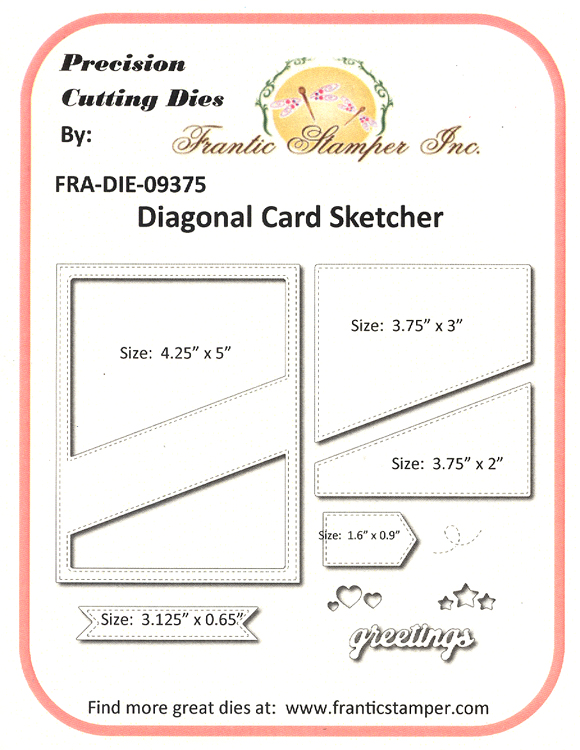 Ecstasy Crafts Frantic Stamper Precision Die - Diagonal Card Sketcher