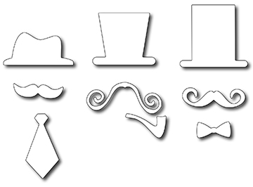 Frantic Stamper Precision Die - Fancy Sirs Hats & Mustaches (set of 9 dies)