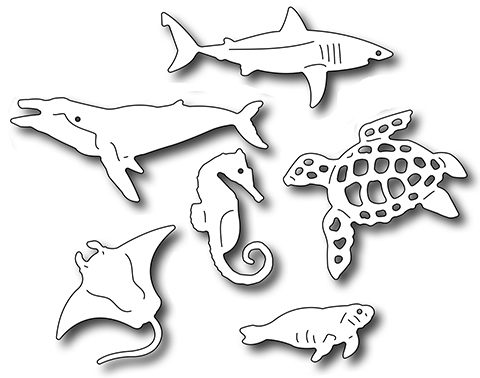 Frantic Stamper Precision Die - Sea Creatures Icons (set of 7 dies)