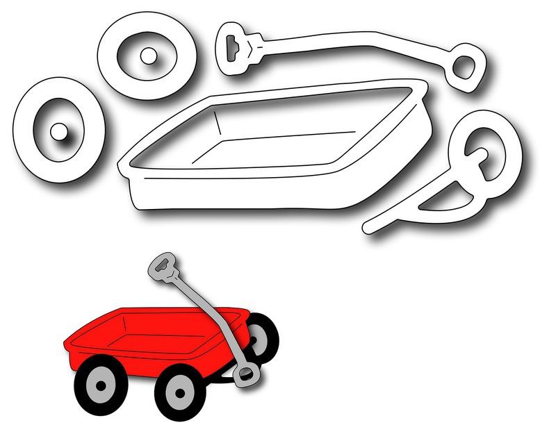 Frantic Stamper Precision Die - Little Red Wagon (set of 5 dies)