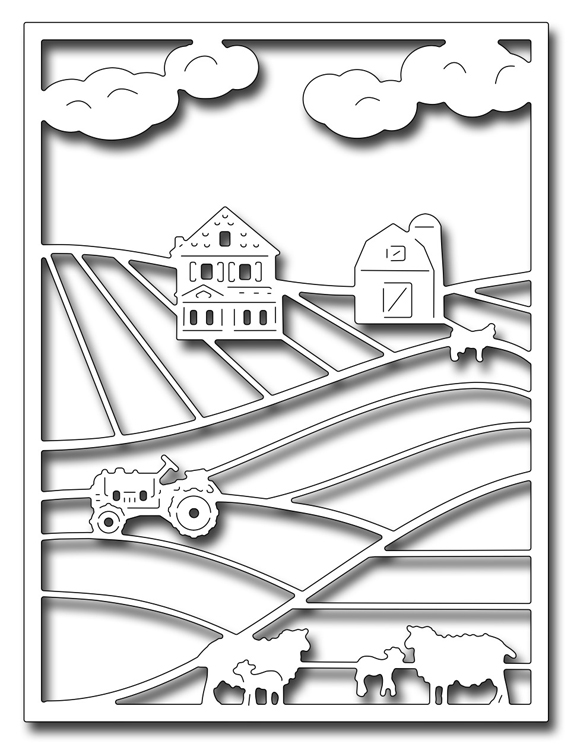 Frantic Stamper Precision Die - Farm Scene Card Panel