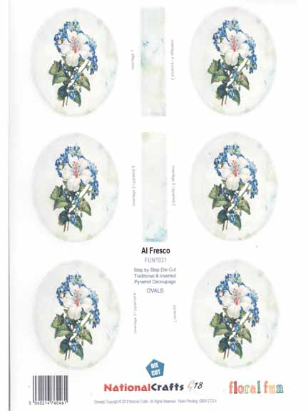 White and Blue flowers- oval