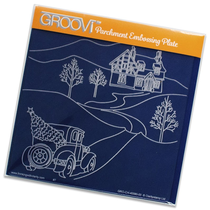Ecstasy Crafts Groovi Country Cottage Snow Scene Plate A5 Sq