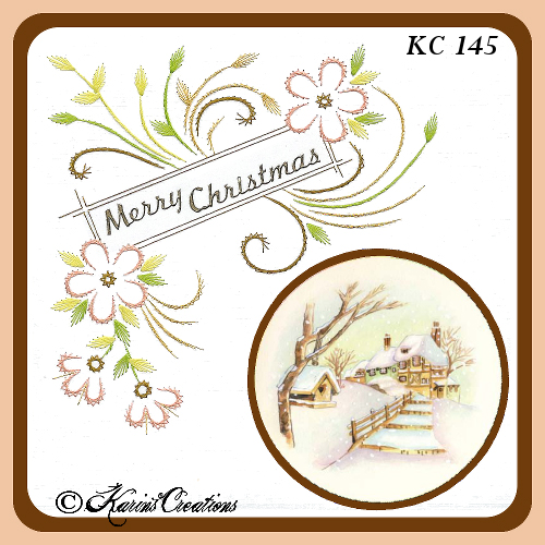 KC Embroidery Pattern - Corner Flourish and Ribbon