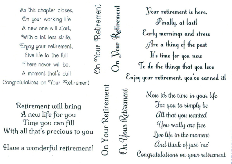 Creative Expression -Sentimentally Yours -Retirement Verses