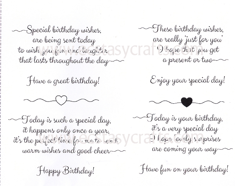 Scribbled Birthday Verses-A5 Clear Stamp Set