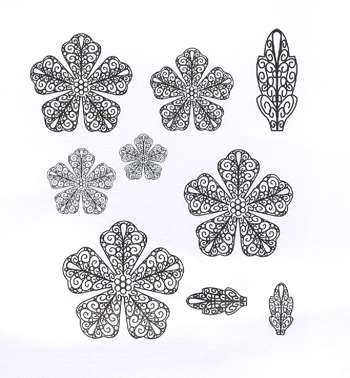Creative Expressions Stamps - Filligree Peony Set of 10 precut stamps