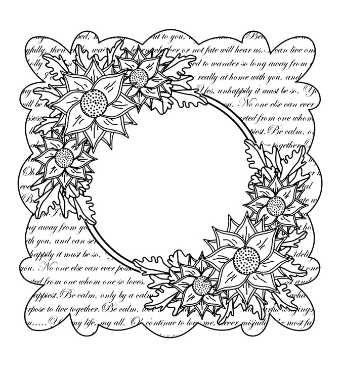 Scripted Clematis Stamp