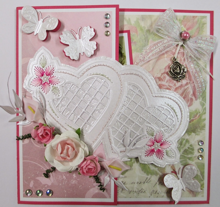 Joy! Crafts Cutting and De-bossing Embroidery Die - Pair of Hearts