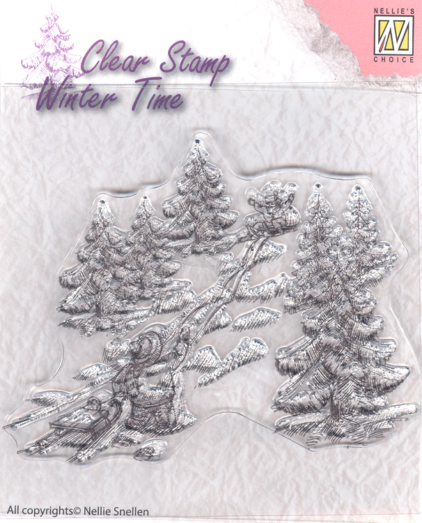 Ecstasy Crafts Clear Stamp - Winter Time - Sled Fun