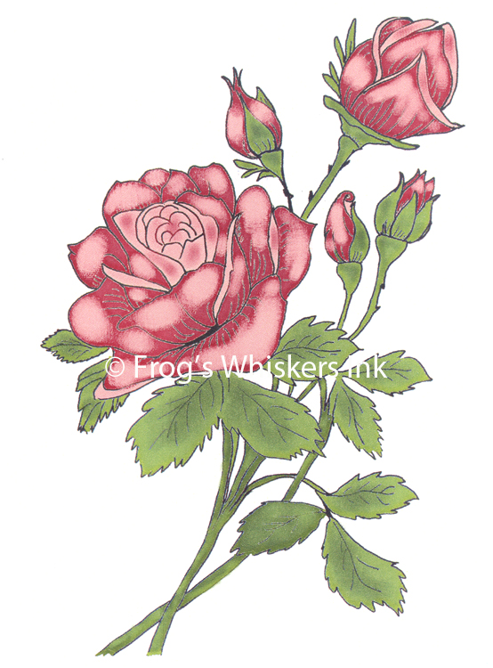 Frog's Whiskers Stamps - Rose Spray