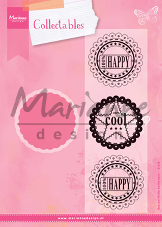 Marianne Design : Collectables Die & Stamp Set - Scallop Die & Sentiment