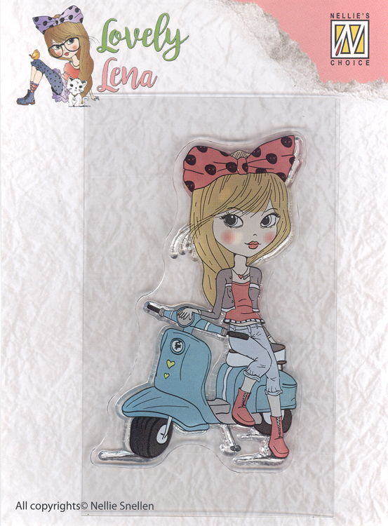 Nellie's Choice Clear Stamp Lovely Lena - Lena On A Scooter