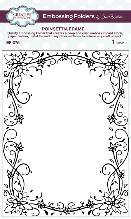 Ecstasy Crafts Creative Expressions Embossing Folder - Poinsettia Frame 5 3/4 X 7 1/2