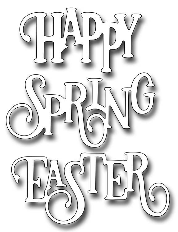 Ecstasy Crafts Frantic Stamper Precision Die - Elegant Happy Spring Easter Words