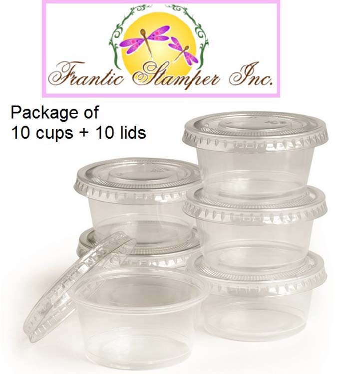 Ecstasy Crafts Frantic Stamper - 2Oz Clear Treat Cups With Lids (pkg Of 10)