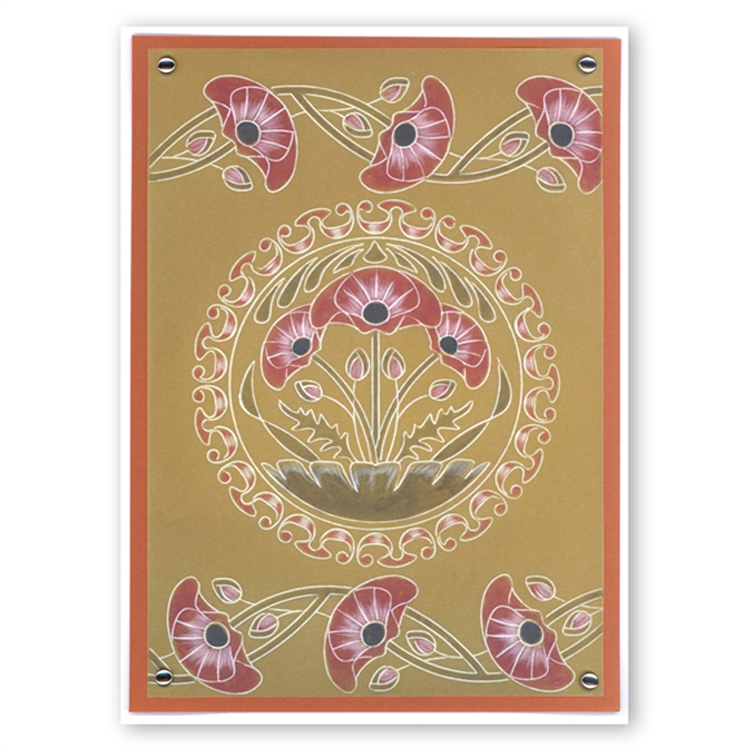 Ecstasy Crafts Groovi Poppies Art Nouveau A5 Sq
