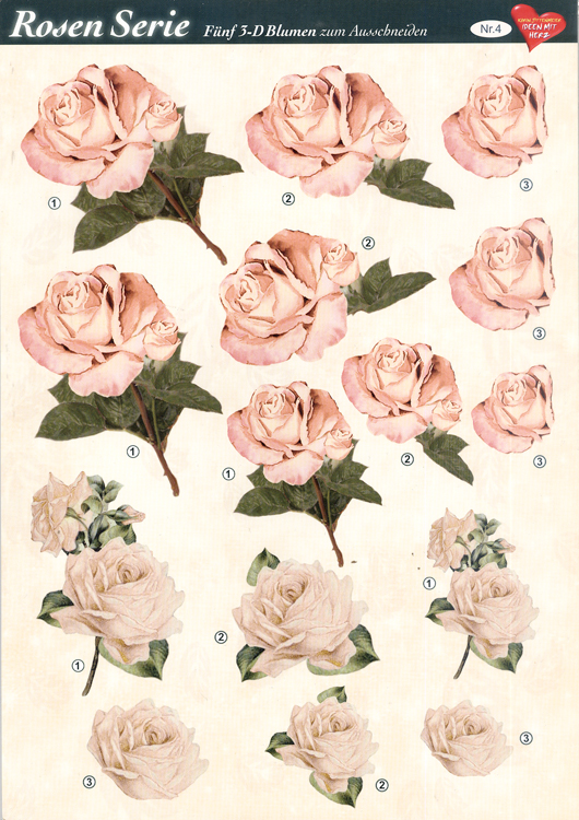 3D Decoupage Sheets A4, 6 pcs Roses 04 Cutting Sheet