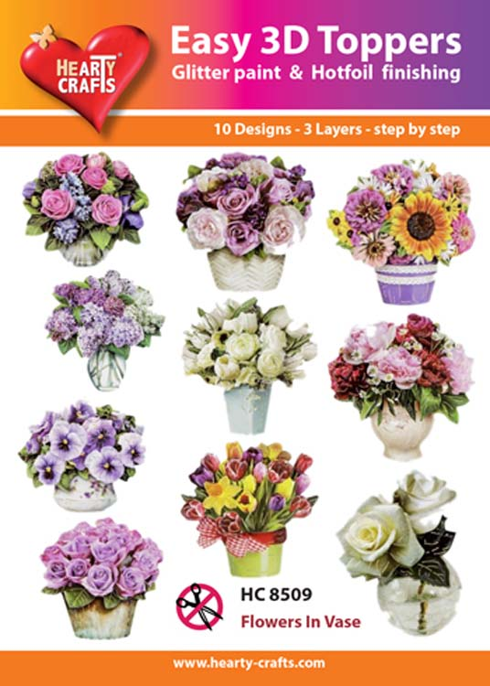 Ecstasy Crafts Hearty Crafts Easy 3D Toppers Flowers In Vase