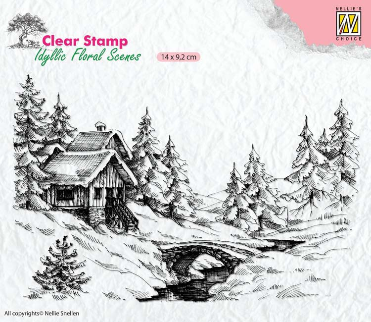 Nellie's Choice Clear Stamp Idyllic Floral Scenes - Winter 1