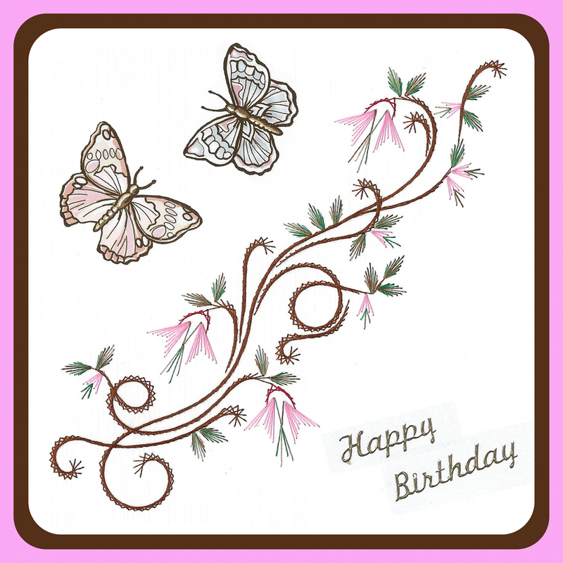 Embroidery Pattern - Dancing Butterflies
