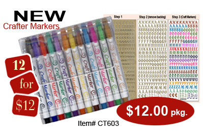 Permanent Craft Markers - 12 assorted colours